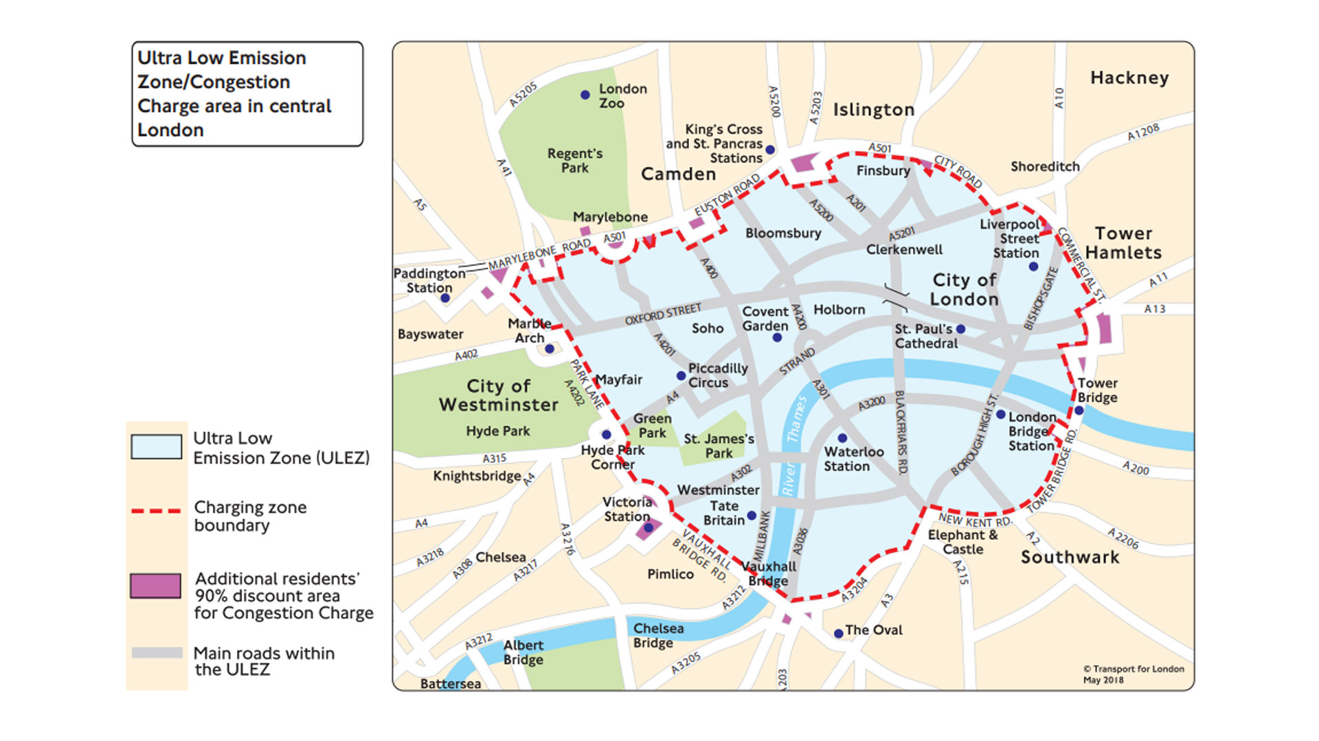 Ultra Low Emission Zone map