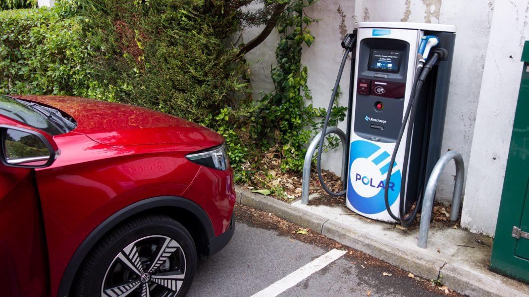 MG ZS EV charging at BP