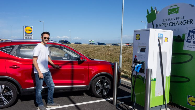 MG ZS EV charging at PodPoint