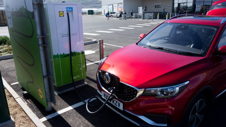 MG ZS EV charging at PodPoint & Lidl