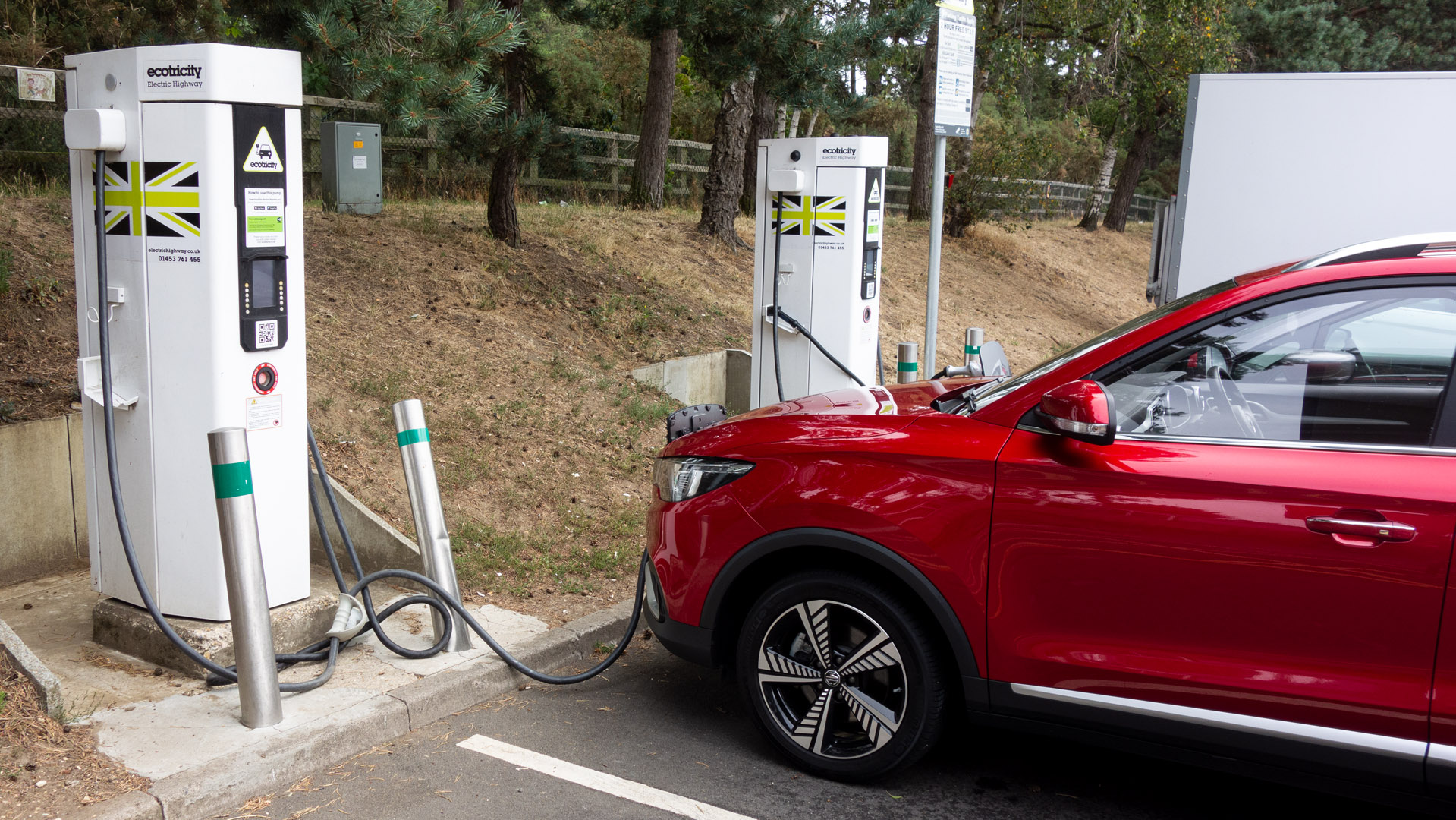 MG ZS EV highway charging stop