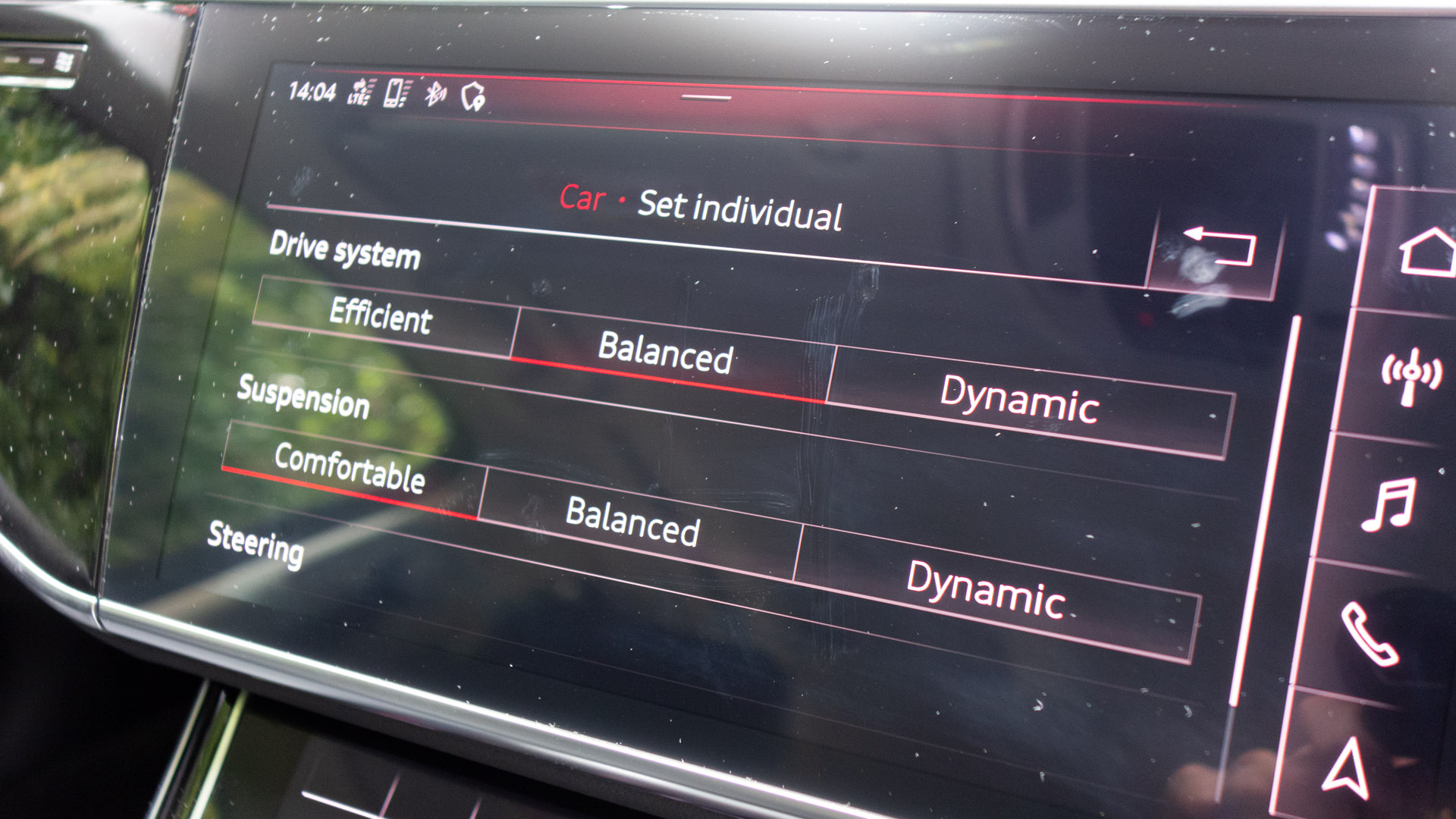 Audi A8 car settings drive
