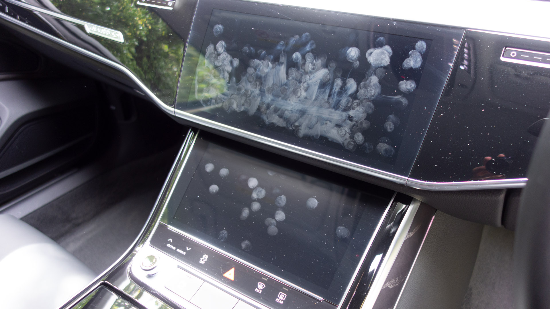 Audi A8 screen dirt