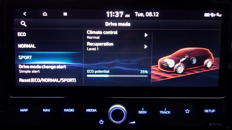 Hyundai Ioniq Electric sport display