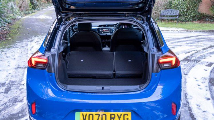 Vauxhall Corsa-e seats folded