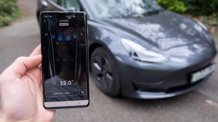 Tesla Model 3 app climate