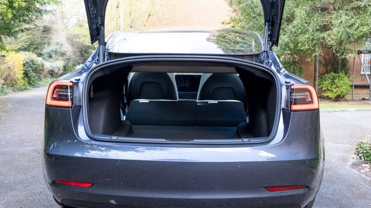 Tesla Model 3 seats folded