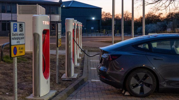 Tesla Superchargers plugged