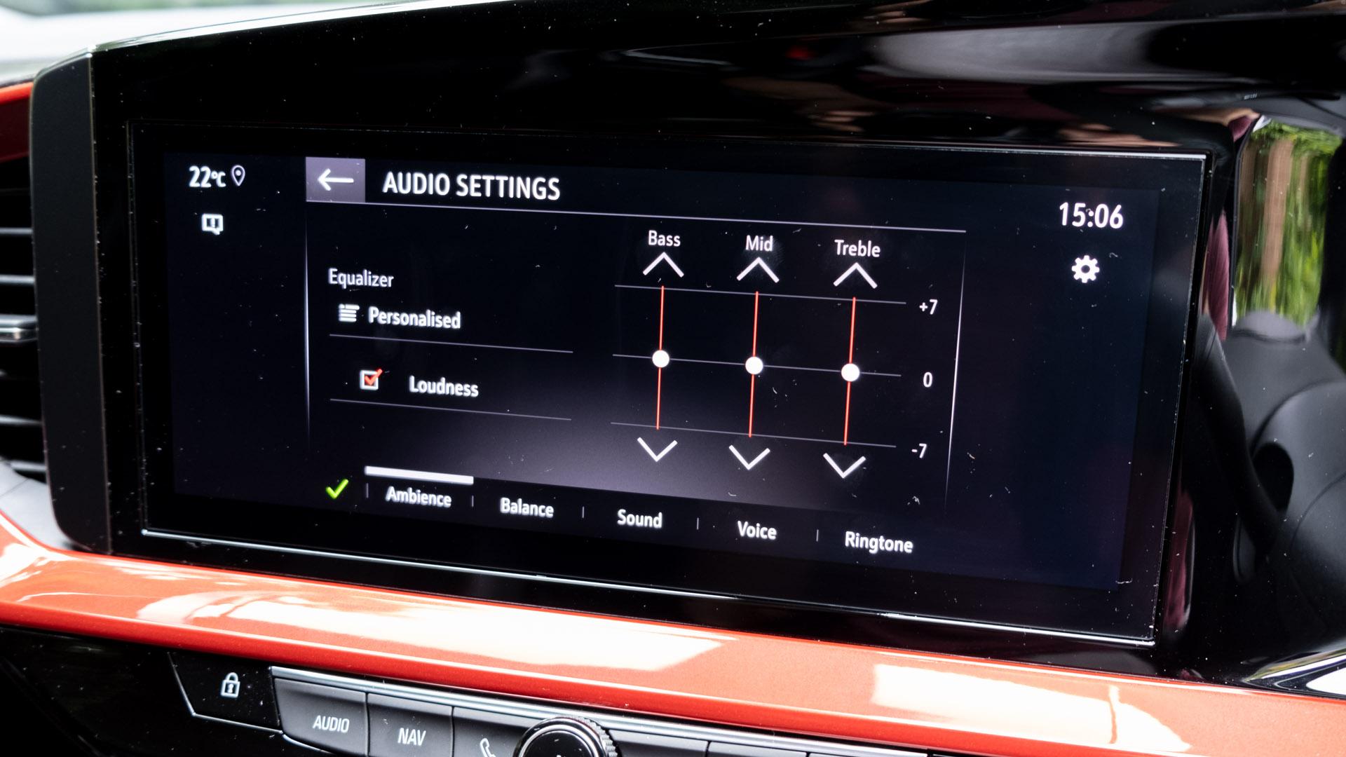 Vauxhall Mokka-e EQ settings